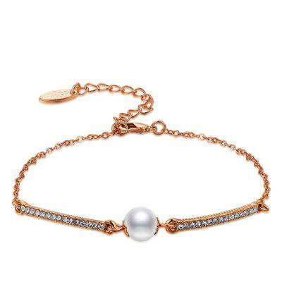 Gold Plated Faux Pearl Rhinestone Bracelet