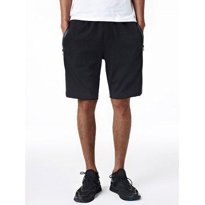 Drawstring Edging Zip Up Pockets Sweat Shorts