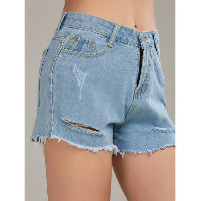 Raw Cut Distressed Denim Shorts