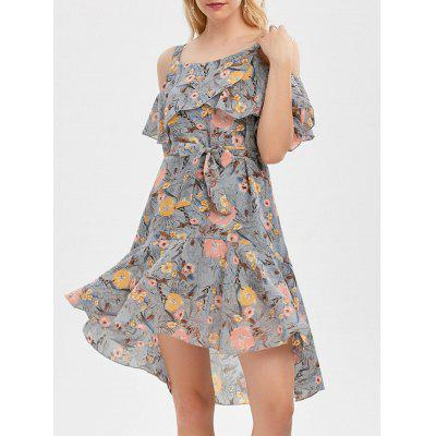 Buy GRAY XL Cold Shoulder Floral Print Flounce Dress for $22.26 in GearBest store