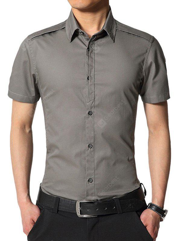 DEEP GRAY Edging Turndown Collar Slim Fit Cargo Shirt