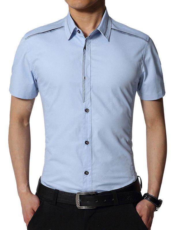 LIGHT BLUE Edging Turndown Collar Slim Fit Cargo Shirt