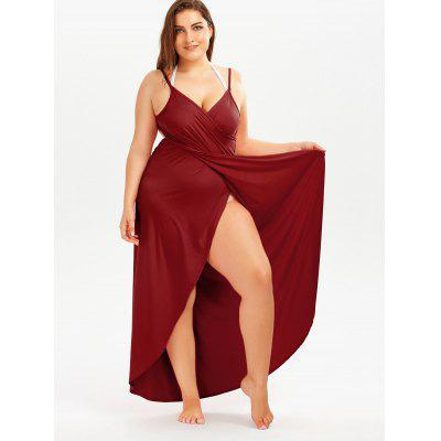 Plus Size Beach Wrap Cover Up DressWomens Swimwear<br>Plus Size Beach Wrap Cover Up Dress<br><br>Dresses Length: Floor-Length<br>Elasticity: Elastic<br>Material: Polyester, Spandex<br>Neckline: Spaghetti Strap<br>Package Contents: 1 x Dress<br>Pattern Type: Solid Color<br>Season: Summer<br>Silhouette: Beach<br>Sleeve Length: Sleeveless<br>Style: Casual<br>Waist: Natural<br>Weight: 0.4100kg<br>With Belt: No
