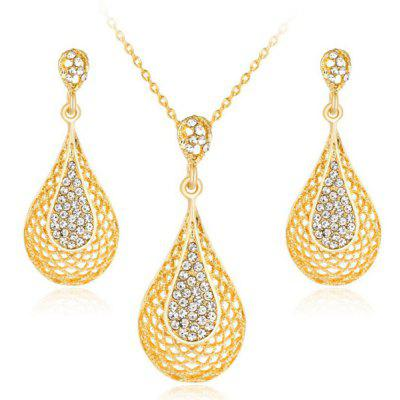 Rhinestone Water Drop Gold Plated Jewelry Set