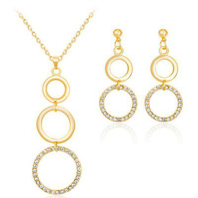 Buy GOLDEN Rhinestone Circles Gold Plated Jewelry Set for $5.88 in GearBest store