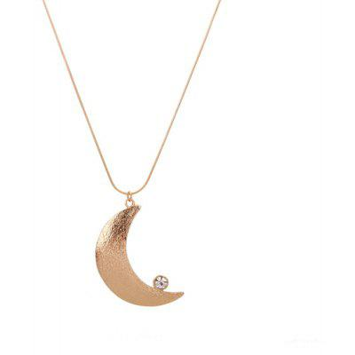 Buy GOLDEN Moon Rhinestone Pendant Necklace for $4.65 in GearBest store