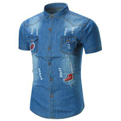 Distressed Applique Pocket Denim Shirt