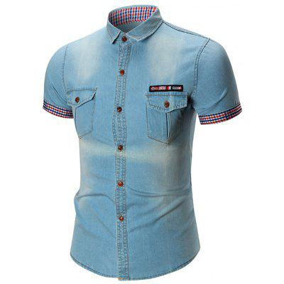 Buy LIGHT BLUE Flag Patch Flap Pocket Denim Shirt for $28.16 in GearBest store