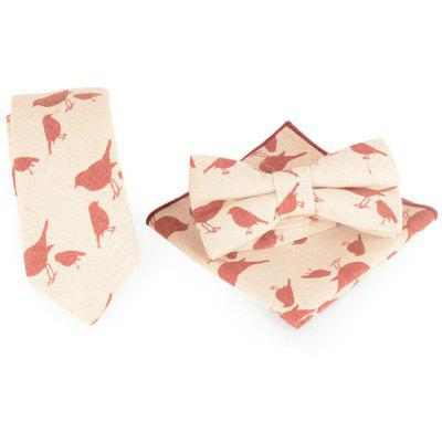 Cartoon Birds Printed Necktie Handkerchief and Bowtie