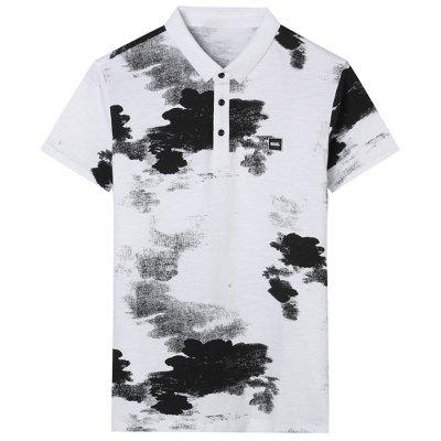 Turndown Collar Splatter Paint Print Applique Polo T-shirt
