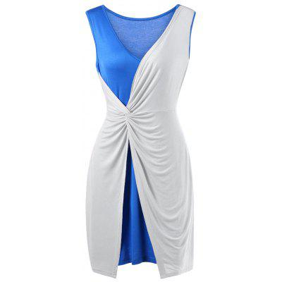 Buy BLUE AND WHITE 3XL Plus Size Two Tone Twist Front Sleeveless Dress for $20.05 in GearBest store