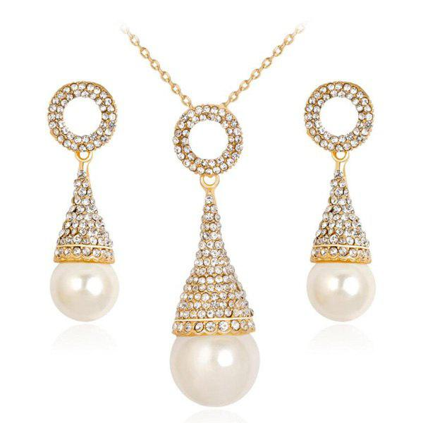 Rhinestoned Faux Pearl Pyramid Jewelry Set