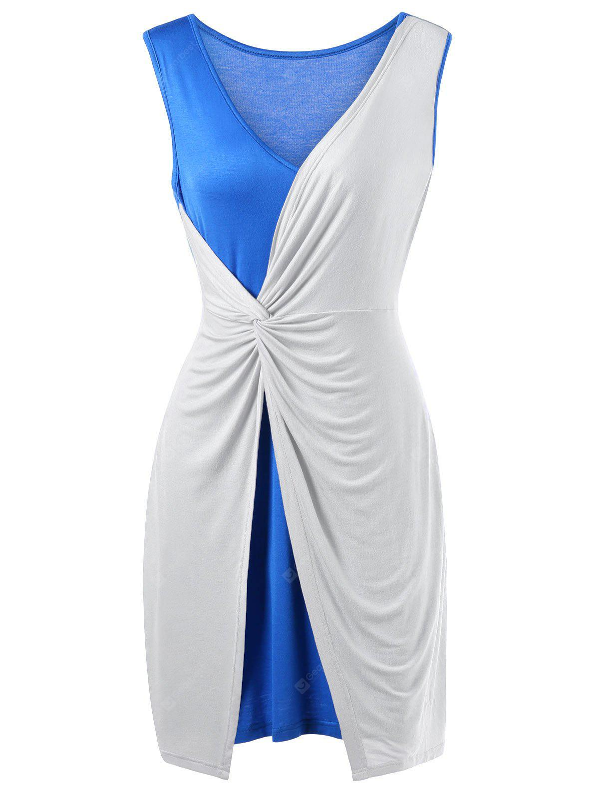BLUE AND WHITE 5XL Plus Size Two Tone Twist Front Sleeveless Dress