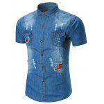 Distressed Applique Pocket Denim Shirt - DUNKELBLAU