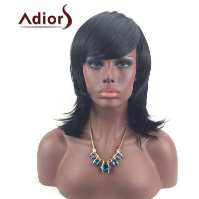 Buy BLACK Adiors Medium Layered Tail Upwards Side Bang Silky Straight Synthetic Wig for $18.27 in GearBest store