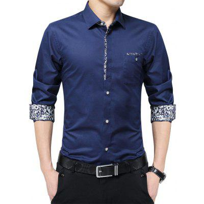 Buy DEEP BLUE Floral Print Pocket Slim Fit Shirt for $25.05 in GearBest store