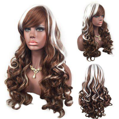 Buy WHITE AND BROWN Adiors Side Bang Highlight Layered Shaggy Long Curly Synthetic Wig for $20.30 in GearBest store