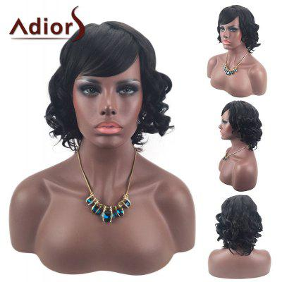 Buy BLACK Adiors Short Inclined Bang Layered Shaggy Curly Synthetic Wig for $17.27 in GearBest store