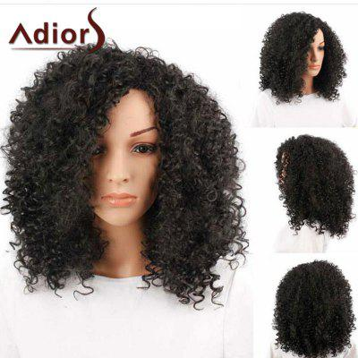 Buy BLACK Adiors Side Bang Medium Shaggy Afro Curly Synthetic Wig for $23.25 in GearBest store