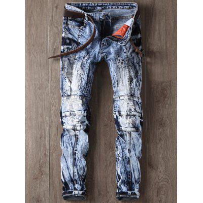 Buy BLUE Zipper Fly Faded and Tie Dye Panel Ripped Jeans for $34.43 in GearBest store