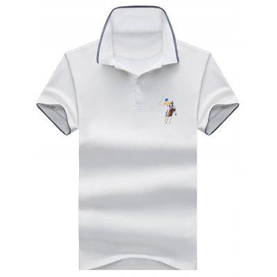 Embroidery Half Button Polo Shirt