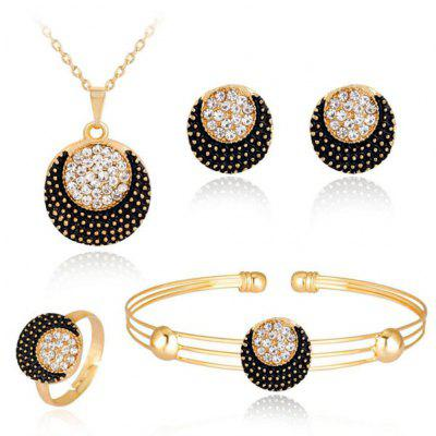 Buy GOLDEN Moon Circle Necklace Bracelet Earrings and Ring Set for $6.27 in GearBest store