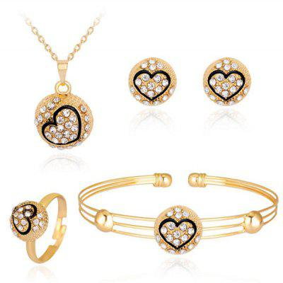 Buy GOLDEN Engraved Heart Necklace Bracelet Earrings and Ring Set for $6.11 in GearBest store