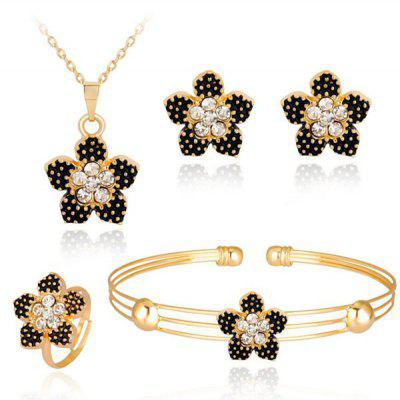 Buy GOLDEN Flower Necklace Bracelet Earrings and Ring Set for $6.04 in GearBest store