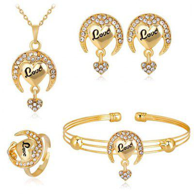 Buy GOLDEN Moon Heart Necklace Bracelet Earrings and Ring Set for $6.53 in GearBest store