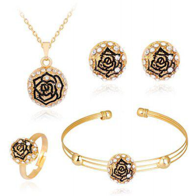 Engraved Rose Necklace Bracelet Earrings and Ring Set