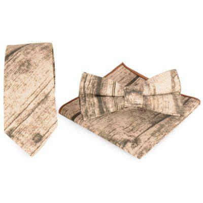 Striation Printed Necktie Handkerchief Bowtie