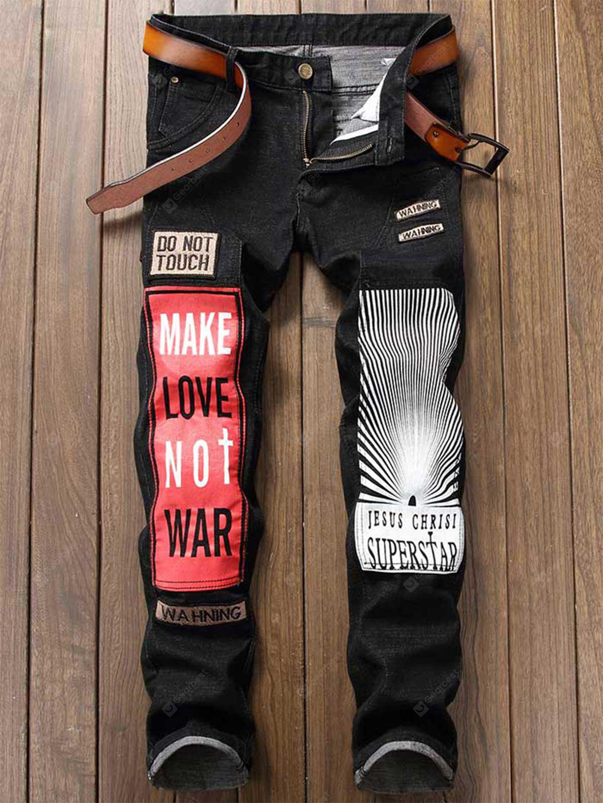 Zipper Fly Graphic Print Color Block Patch Jeans