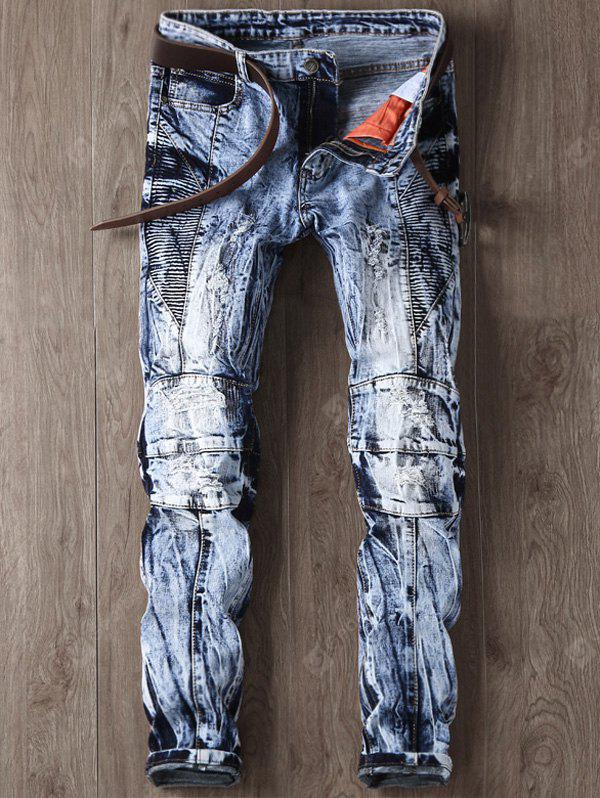 Zipper Fly Faded and Tie Dye Panel Ripped Jeans