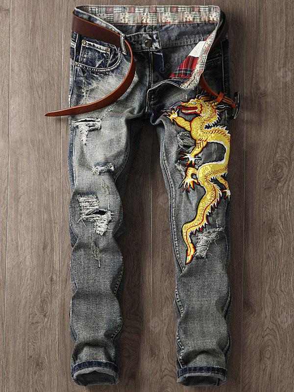 Zipper Fly Dragon Embroidered Applique Ripped Jeans