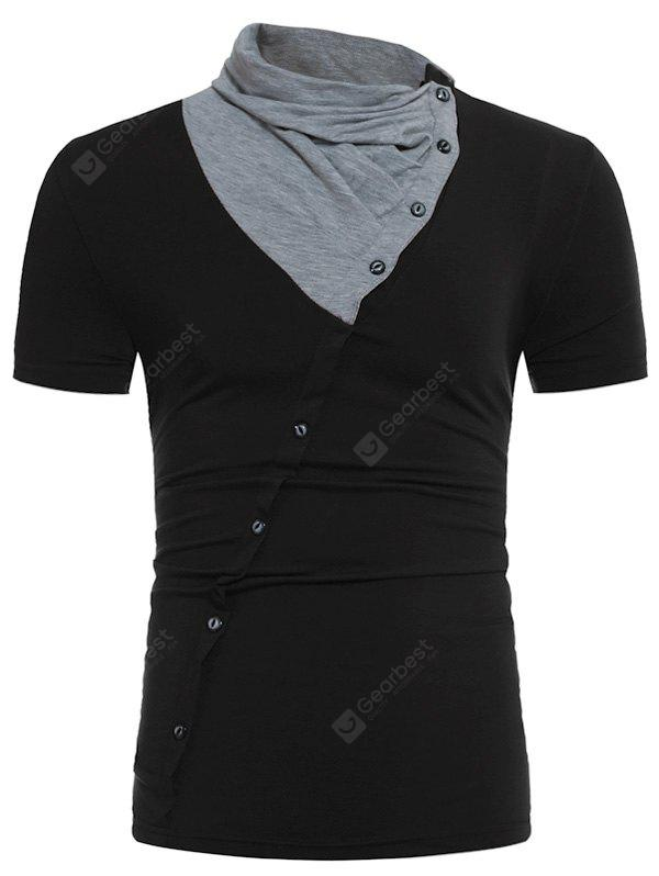 Cowl Neck Color Block Panel Oblique Buttons T-shirt