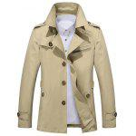 Zip Lapel Button Up Slim Fit Jacket - KHAKI