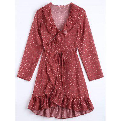 Buy DARK RED S Star Print Ruffle Trim Wrap Dress for $24.71 in GearBest store