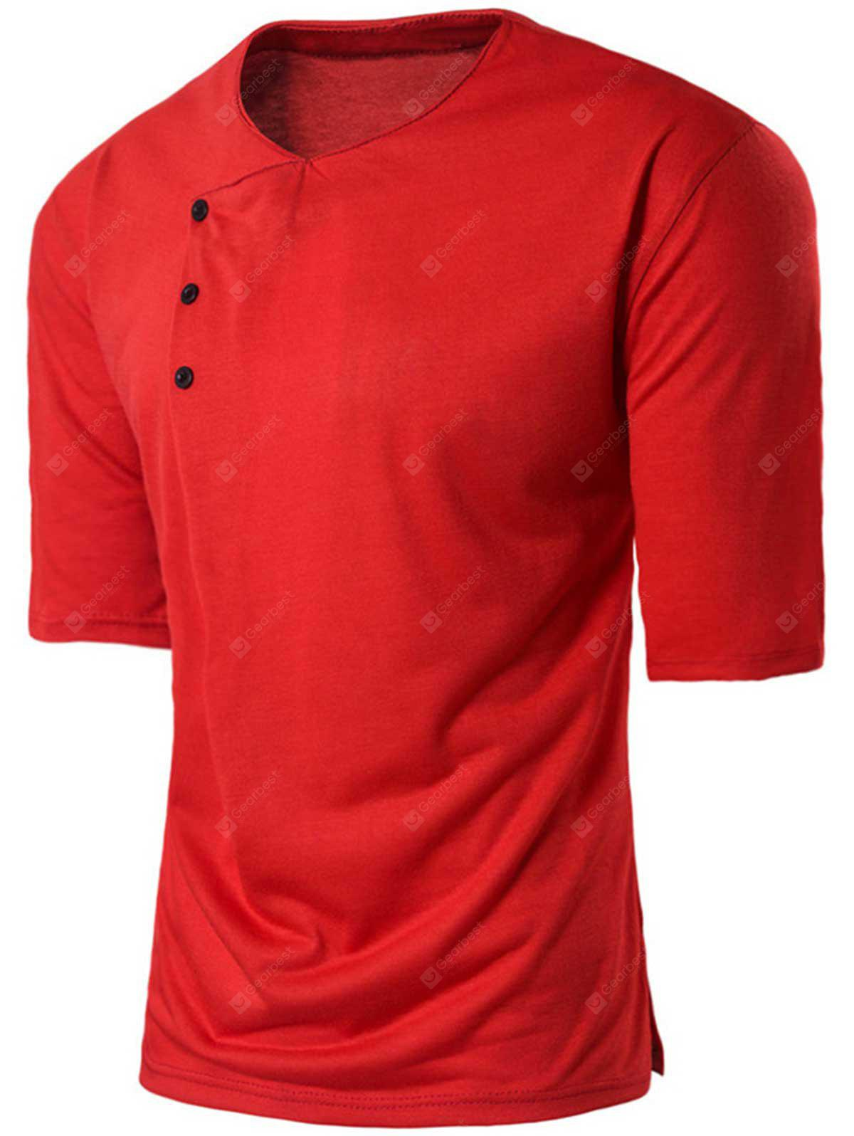 Crew Neck Buttons Embellished Panel T-shirt