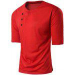Crew Neck Buttons Embellished Panel T-shirt - RED