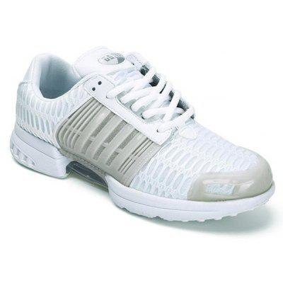 Mesh Faux Leather Insert Breathable Athletic Shoes