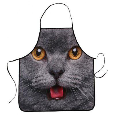 3D Cat Head Printed Waterproof Kitchen Apron