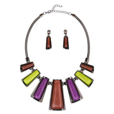 Buy COLORFUL Geometric Enamel Necklace and Earrings Set for $9.16 in GearBest store