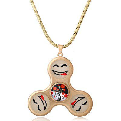 Buy GOLDEN Decoration Smile Fidget Spinner Pendant Necklace for $5.98 in GearBest store
