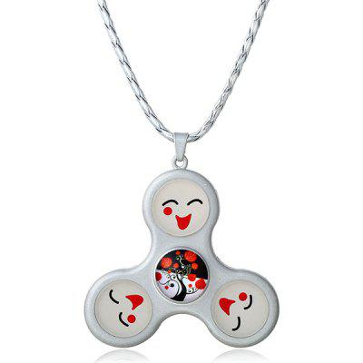 Buy SILVER Decoration Smile Fidget Spinner Pendant Necklace for $5.98 in GearBest store