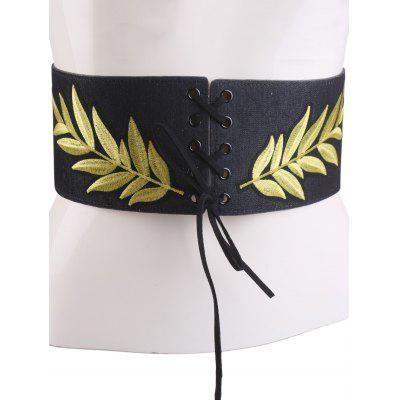 Lace Up Leaf Embroidery Wide Corset Belt