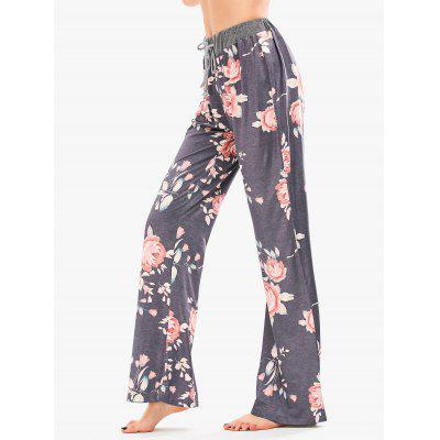 Buy GRAY M Drawstring Floral Print Palazzo Pants for $19.19 in GearBest store