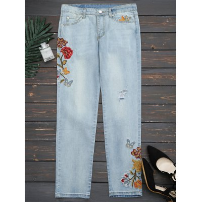 Floral Embroidered Ripped Narrow Feet Jeans