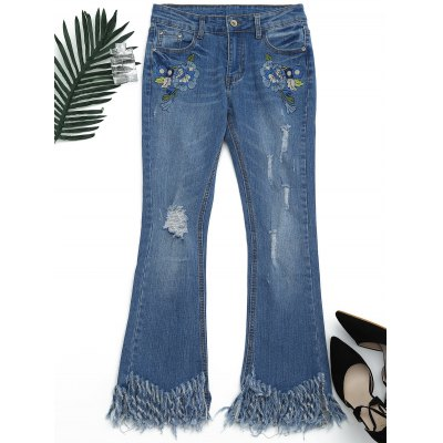 Embroidered Distressed Cutoffs Flared Jeans