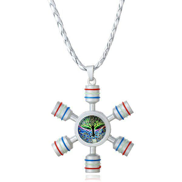 SILVER Tree of Life Decoration Fidget Spinner Necklace