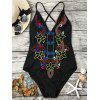 Lace Up Cross Back Embroidered Swimsuit - BLACK